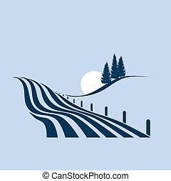stylizowany, pokaz, krajobraz, agrariusz, ilustracja