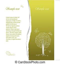 stylizowany, rocznik wina, abstrakcyjny, drzewo, rysunek