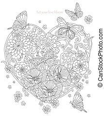 stylizowany, sercowa forma, kwiaty, motyle, przelotny