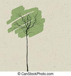 stylizowany, tło., abstrakcyjny, drzewo., vector.