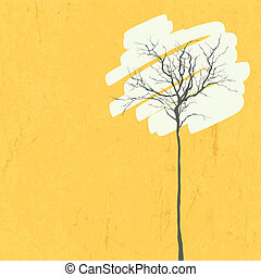 stylizowany, tło., drzewo., retro, wektor