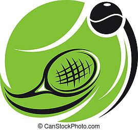 stylizowany, tenis, ikona