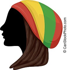 subkultura, sylwetka, rastafarian, ilustracja