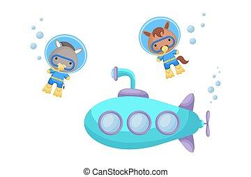 submarine., t-shirt, underwater skakanie do wody, rysunek, garnitur, pływać, karta, osioł, projektować, sprytny, album, invitation., koń