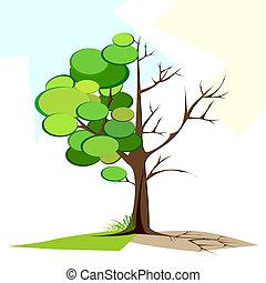 suchy, drzewo, zielony