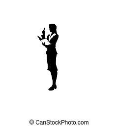 suit., kobieta, ilustracja, wektor