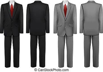 suits., komplet, czarnoskóry, szary, vector.