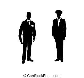 suits., mężczyźni, ilustracja, dwa, wektor