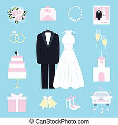 suknia, garnitur, otoczony, ślub, ikony