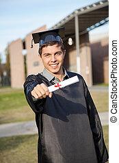 suknia, uniwersytet, dyplom, skala, campus, pokaz, człowiek