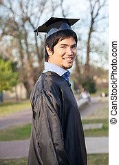suknia, uniwersytet, skala, szczęśliwy, campus, człowiek