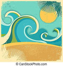 sun., struktura, retro, papier, stary, tło, morze, fale, wektor, afisz, rocznik wina, natura