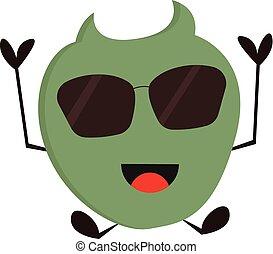sunglasses, potwór, ilustracja, tło., wektor, zielony, uśmiechanie się, biały