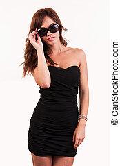 sunglasses, sexy, kobieta, przedstawianie