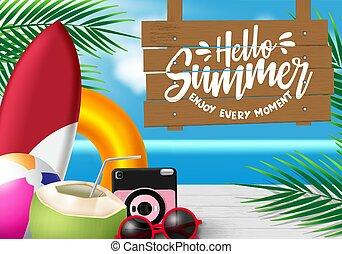 sunglasses, wektor, orzech kokosowy, lato, piłka, deska, sok, święto, drewno, season., aparat fotograficzny, plaża, liście, powitanie, design., tło, flisak, podobny, fale przybrzeżne, dłoń, tekst, element, powiesić