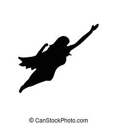 superhero, kobieta, sylwetka