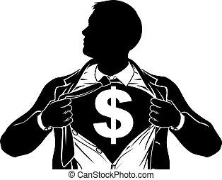 superhero, koszula, handlowy, dolar, skrzynia, płakanie, człowiek