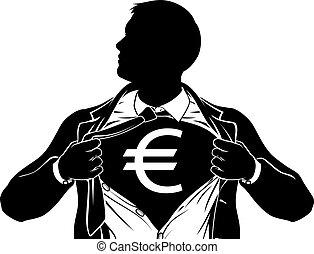 superhero, koszula, handlowy, skrzynia, człowiek, płakanie, euro