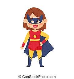 superhero, mała dziewczyna, kostium, ilustracja, maska, wektor, kobieta, kot