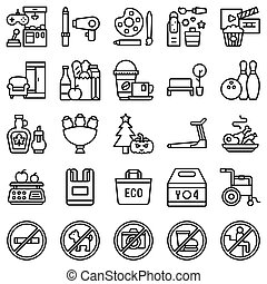 supermarket, styl, ikona, komplet, kreska, 5, powinowaty, shopping mall
