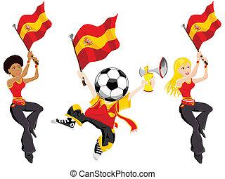 supporters., piłka nożna, hiszpania