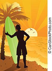 surfer, ocean