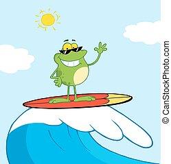 surfing, szczęśliwy, morze, żaba, znowu