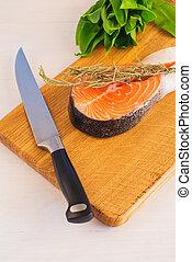 surowy, łosoś, zioła, cięcie deska, stek
