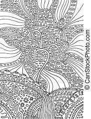 surrealistyczny, ilustracja, life., tęcza, wektor, adults., strona, kolorowanie, psuchedelic, kaprys, drzewo