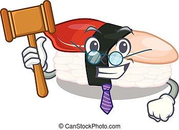 sushi, obsłużony, sędzia, stół, rysunek, hokkigai