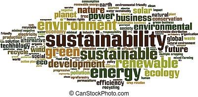 sustainability, słowo, chmura