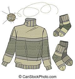 sweter, wełna, skarpety