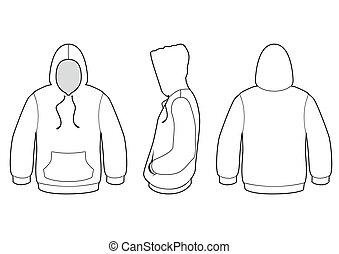 sweter, wektor, zakapturzony, illustration.