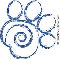 swirly, druk, wektor, łapa, logo