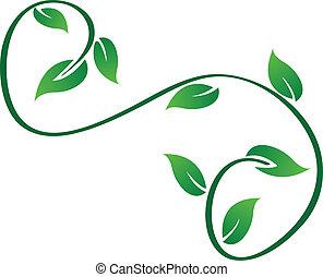 swirly, logo, liście, zielony
