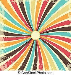 swirly, rays., grunge, struktura, rocznik wina, wektor, ilustracja, tło, retro