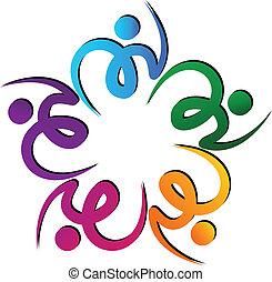swooshes, kwiat, teamwork, logo