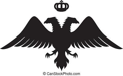 sylweta orła, głowiasty, podwójny, korona, wektor