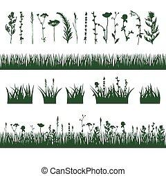 sylwetka, łąka, trawa