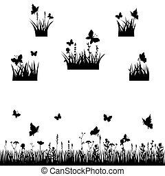 sylwetka, łąki