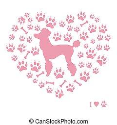 sylwetka, ślady, kształt, pudel, kość, tło, obraz, pies, ładny, heart.