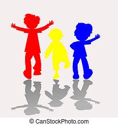 sylwetka, 2, barwny, dzieciaki