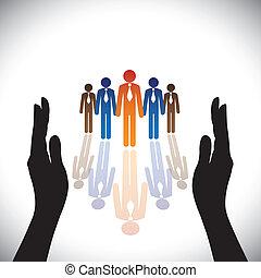 sylwetka, concept-, towarzystwo, secure(protect), ręka, pracownicy, zbiorowy, albo, egzekutorzy