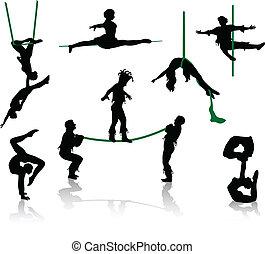 sylwetka, cyrk, performers.