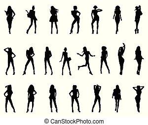 sylwetka, czarnoskóry, kobiety
