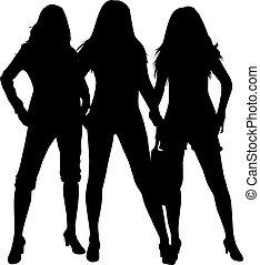 sylwetka, czarnoskóry, trzy, women.