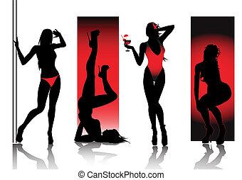 sylwetka, czerwony, sexy