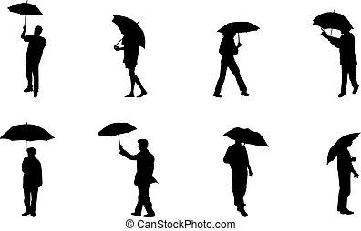 sylwetka, deszcz, ludzie