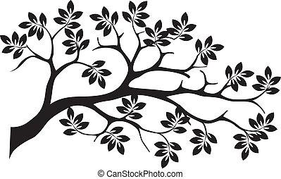 sylwetka, drzewo, odizolowany, czarnoskóry