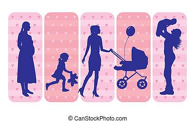sylwetka, dzieci, matki